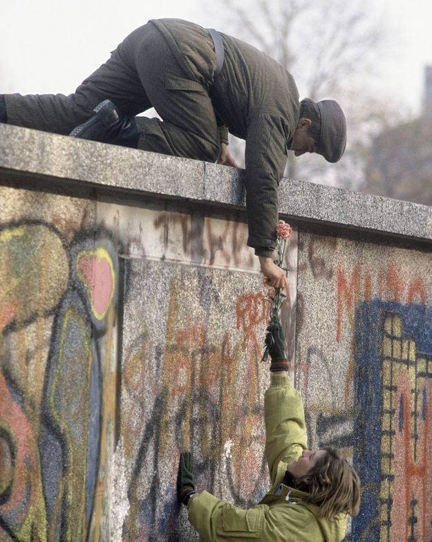 Berlin Wall - Pacifist giving Soldier some flowers [Source: Pinterest] - abc Translations