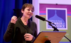 Caroline Lucas - 2016 Big Debate [Photo credit: Simon Dack] - ABC Translations