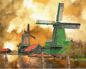 Surreal Windmills Landscape [Source: OpenClipArt] - ABC Translations